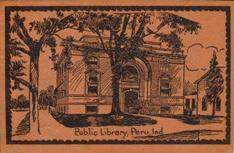 Peru, IN Carnegie library on leather postcard