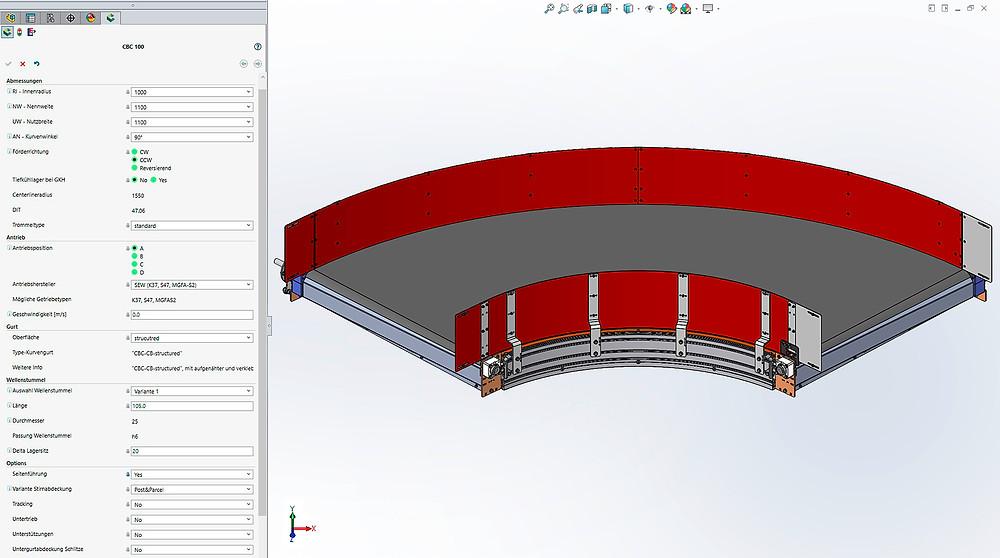 """""""Ankonfigurieren"""" eines Kurvengurtförderers mit Tacton Design Automation. Am linken Bildschirmrand ist das User Interface zur Eingabe der einzelnen Parameter sichtbar. Werkbilder: Motion 06 GmbH"""