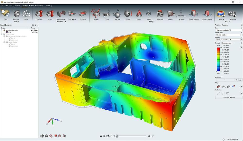 Komplexe Bauteile können in Altair Inspire analysiert werden, ohne geometrische Merkmale entfernen zu müssen.