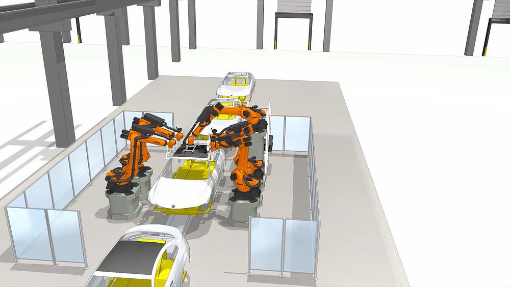 Simulation einer Autodachmontage durch Roboter eines bekannten Automobilherstellers.
