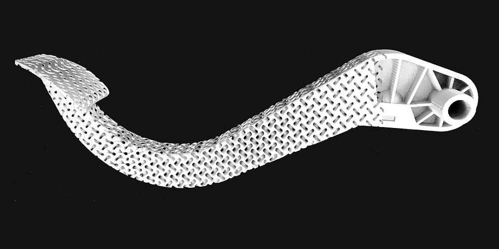 Leichtbau-Bremspedal, ausgeführt in Kunststoff auf einem 3D-Drucker.