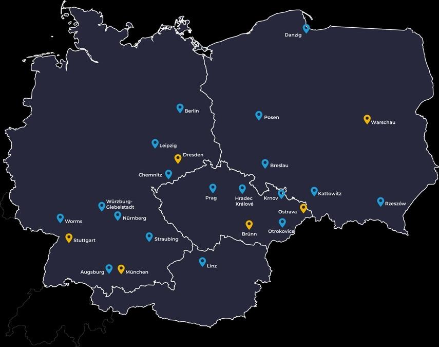 Mit 24 Niederlassungen ist NTR in Deutschland, Österreich, Schweiz, Polen und Tschechien vertreten.