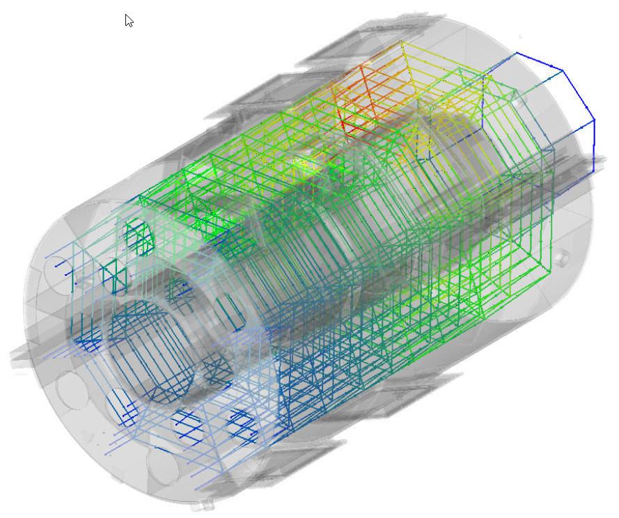 Im Flow Simulator erstelltes CAD-integriertes 3D-Strömungsnetzmodell zur Lösung des schwierigen Wärmemanagementproblems eines Flugzeugtriebwerkes unter der Triebwerksverkleidung.
