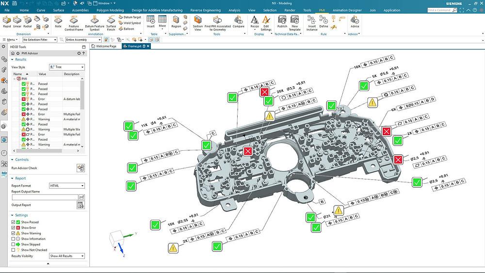 Dieses Bild zeigt den NX PMI Advisor, eine vollständig integrierte PMI Validierungslösung.