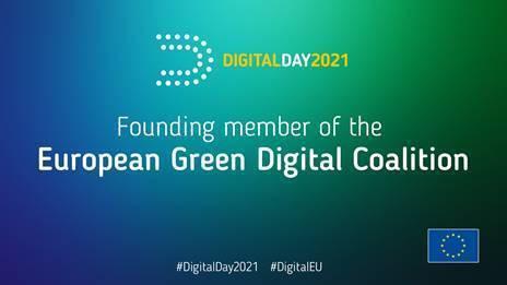 Dieses Logo zeigt an, dass man ein Mitglied der European Green Digital Coalition ist.