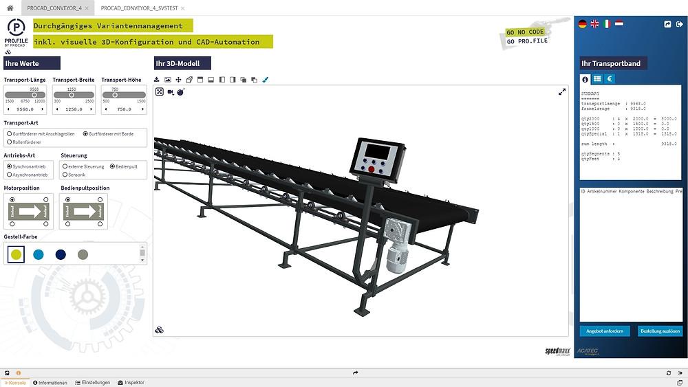 Blick auf die Oberfläche eines Konfigurators, der für die Erstellung von Förderbändern geeignet ist, links die Dateneingabe, rechts das fertige Förderband.