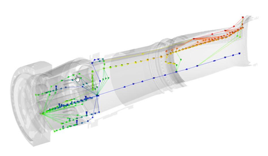 Im Flow Simulator entwickeltes CAD-integriertes Strömungsnetzmodell einer Gasturbinenbrennkammer.