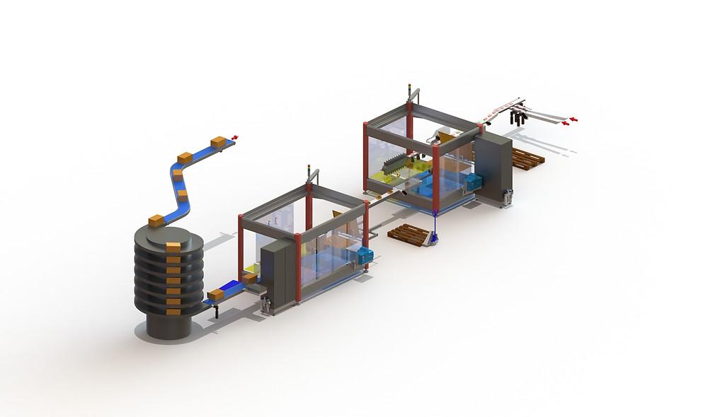 Das Anlagenlayout einer zweistufigen SOMIC-Verpackungslinie in Lino 3D layout. Durch die frei wählbaren und zoombaren Ansichten ist das Zusammenspiel der Tray- und der Wrap-Around-Sammelpacker gut zu erkennen.