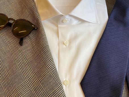 Glen check linen and blue purple herringbone tie.