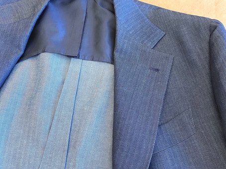 Beautiful blue herringbone summer suit.