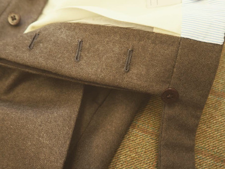 Olive Green Flannel Trousers.
