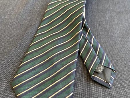 Blue gray Micro pinhead and blue green regimental tie.