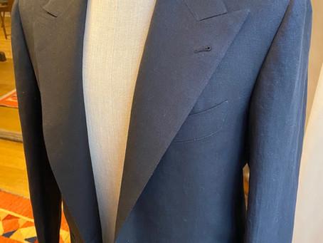Black linen suit.