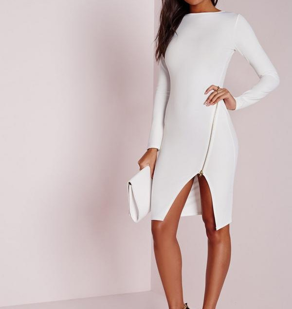 long-sleeve-zip-detail-midi-dress-white