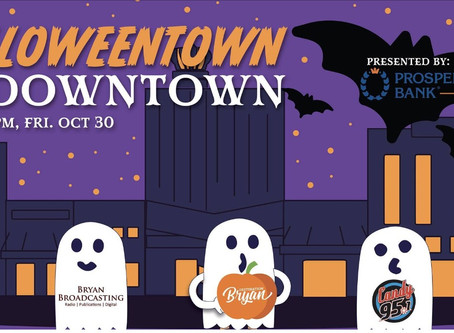 Halloween in downtown Bryan.  Get your spooky on 👻💀🎃