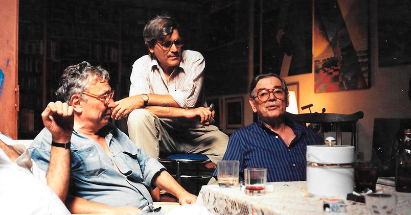 """Cachete"" Gonzalez, Tito Busse, Leopoldo Presas en el taller de Busse"