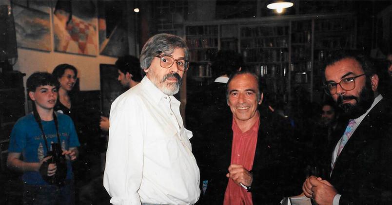 Tito Busse y su amigo, el gran pianista Miguel Angel ESTRELLA en el taller.