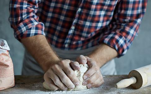 Food photography, baking bread, hands, food photographer Christina Bull