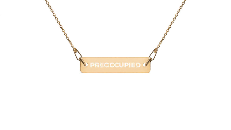 """Tilsen """"Preoccupied"""" 24K Gold Coated Engraved Bar Necklace"""