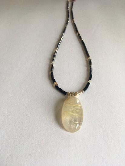 HandmadeRutilated Quartz Botswani Agate Necklace