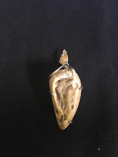 Sterling Silver Crystalized Shell Fossil Pendant