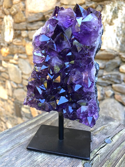 Grape Jelly Amethyst on Metal Stand