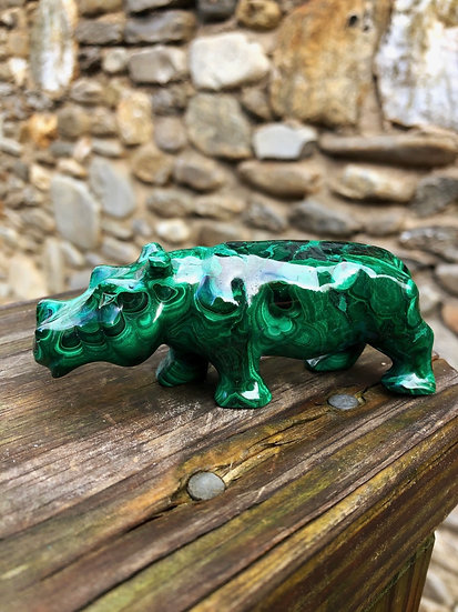Solid Malachite Hippo Carving