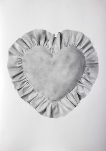 """Heart pillow, graphite on paper, 2018, 24"""" x 34"""""""