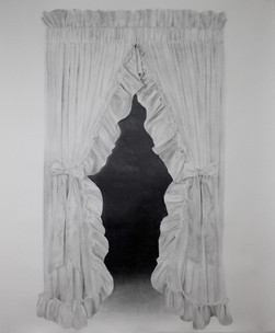 """Curtains, H 68"""" x W 56"""", graphite on paper, 2018"""