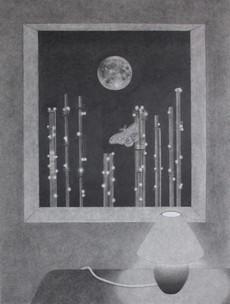 "Window View on John Street, 2020, graphite on paper, 22.5"" x 29.5"""