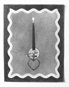 """Sconce, 2018, graphite on paper, 11""""W X 14""""H"""