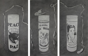 """Candles, 2018, graphite on paper, Triptych, 113.5""""W X 69""""H"""