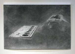 "Painter, graphite on paper, 2015, 54"" x 72"""