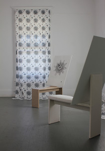 upholstered and laminated drawing horse, graphite drawing on paper, printed cotton curtains, 2018 installation