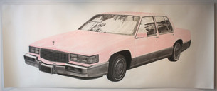 """Mary Kay Cadillac, graphite and pastel on paper, 2011, 72"""" x 180"""""""