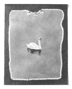 """Necklace and Swan, 2018, graphite on paper, 11""""W X 14""""H"""