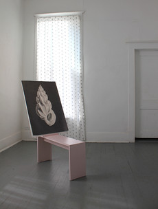 laminated drawing horse, graphite drawing on paper, printed cotton curtains, 2018 installation