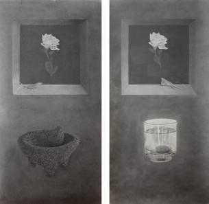 "Molcajete (left) / Mal de Ojo (right), 2015, graphite on paper, each 35"" x 70"""