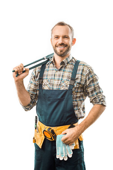 smiling plumber with tool belt holding m