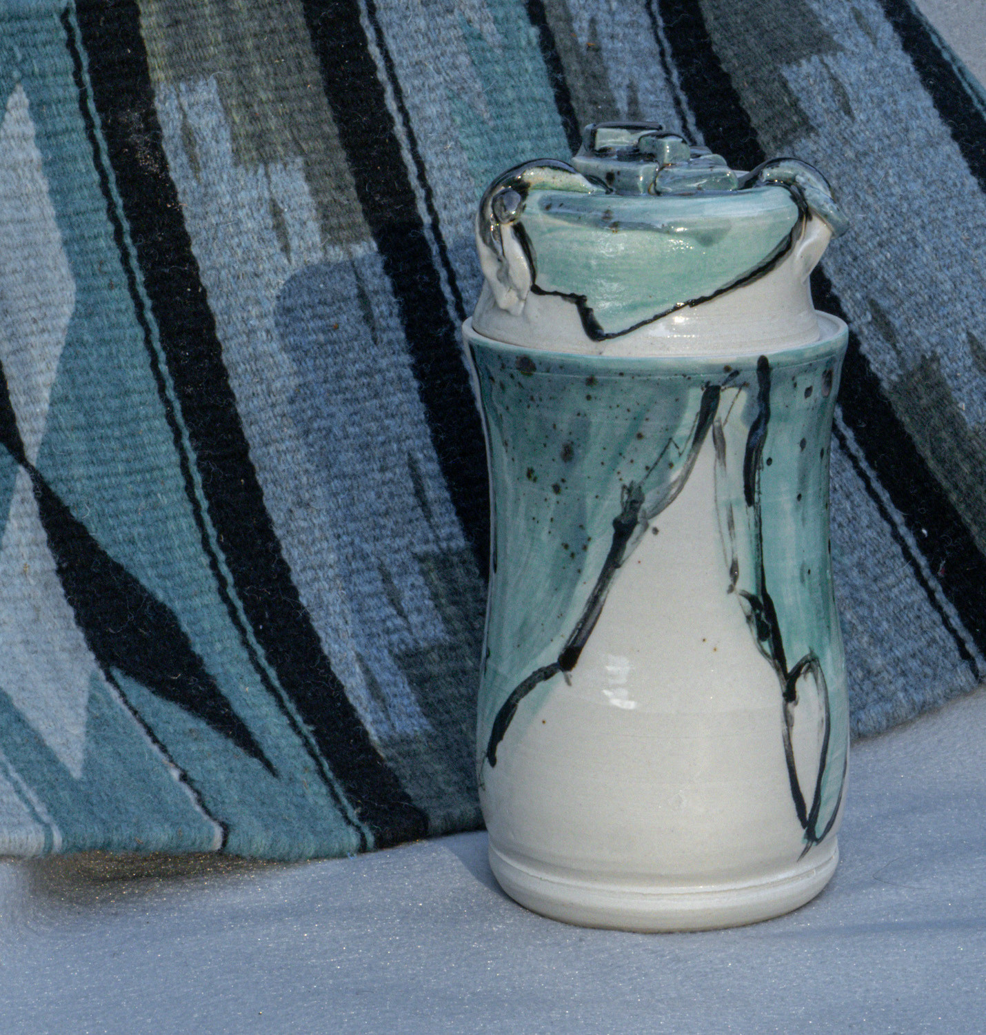 Thrown vase with lid, fired to cone 5