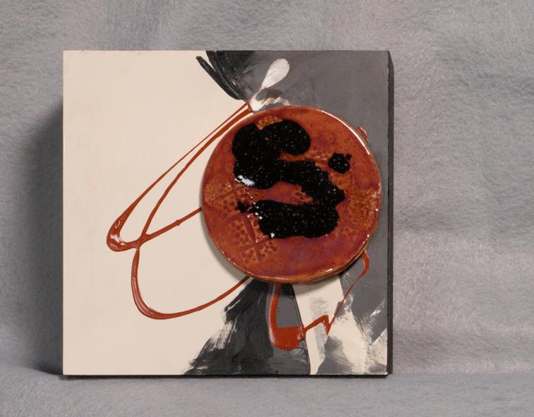 Clay medallion on claybord with acrylic