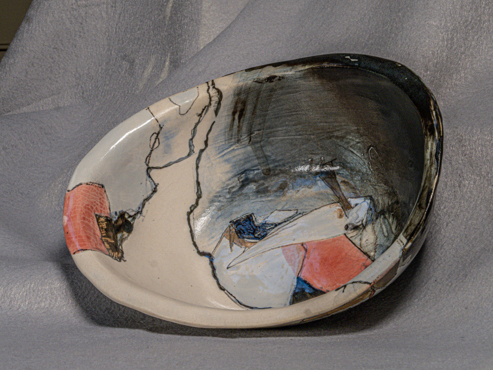 Hand built bowl with cone 5-6 glazes