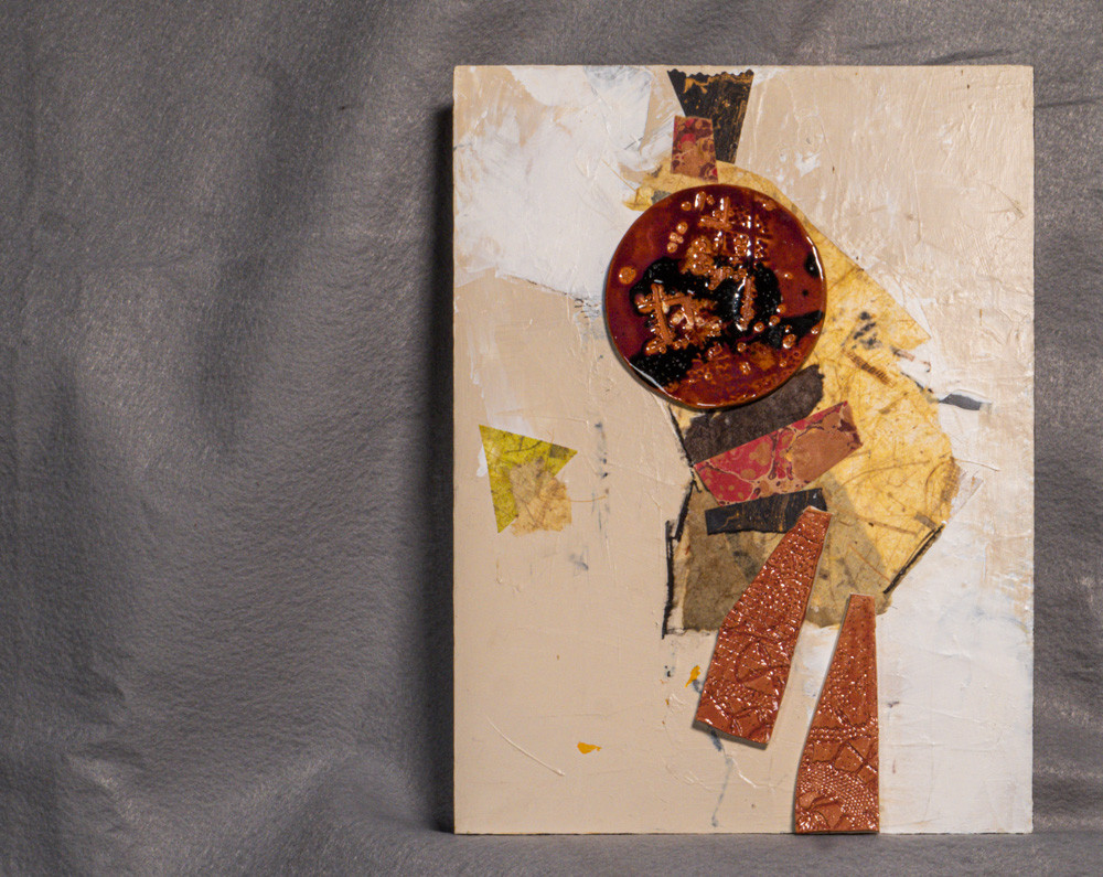 Clay medallion and clay slabs with handmade papers and acrylic on claybord