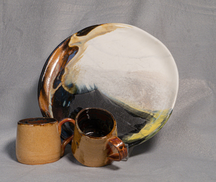 Hand built plate and thrown cups