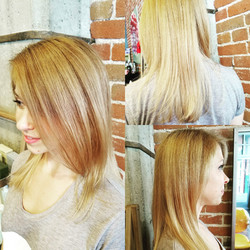 copper haircolor to blond