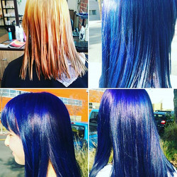 Deep blues and purple hair.