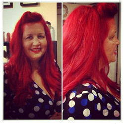 Red hair color..