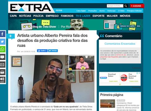 Jornal EXTRA / Artista urbano Alberto Pereira fala dos desafios da produção criativa fora das ruas
