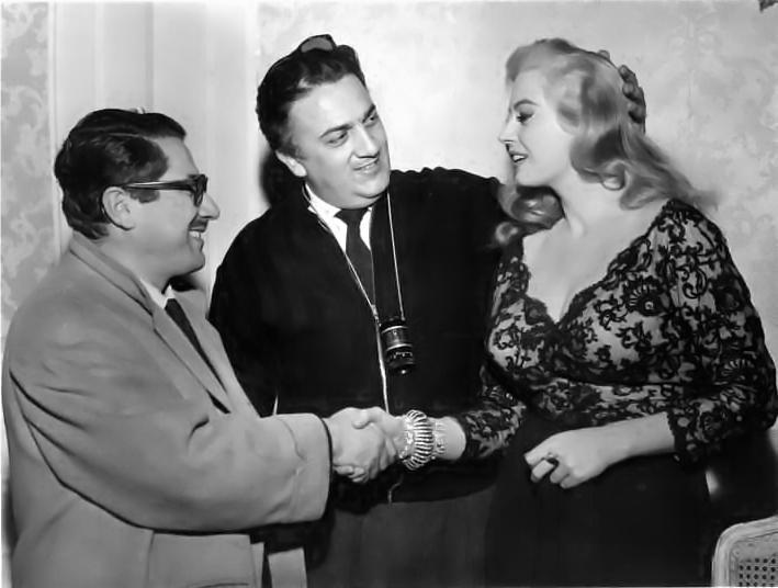 Ennio Flaiano, Federico Fellini e Anita Ekberg nel 1960