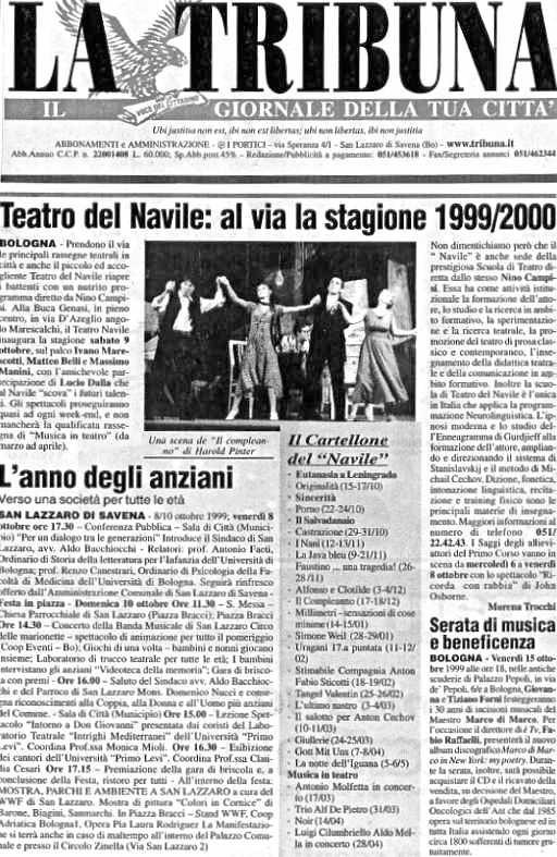 Teatro del Navile: al via la stagione di Morena Trocchi, La Tribuna, ottobre 1999